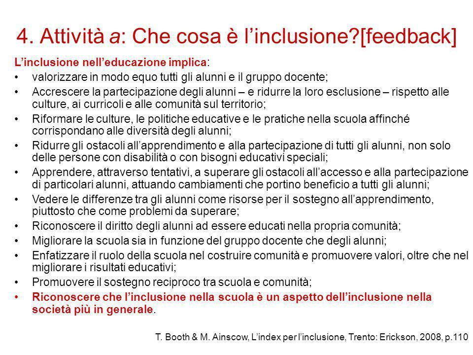 4. Attività a: Che cosa è l'inclusione [feedback]